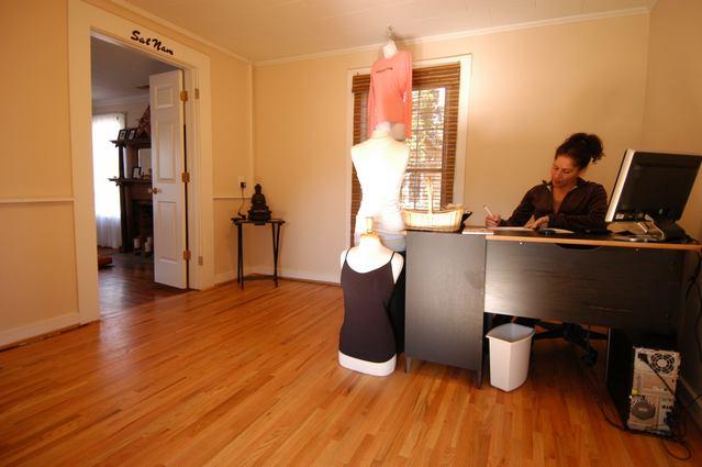 Reception area of Urban Bliss Yoga in Cornelius, NC