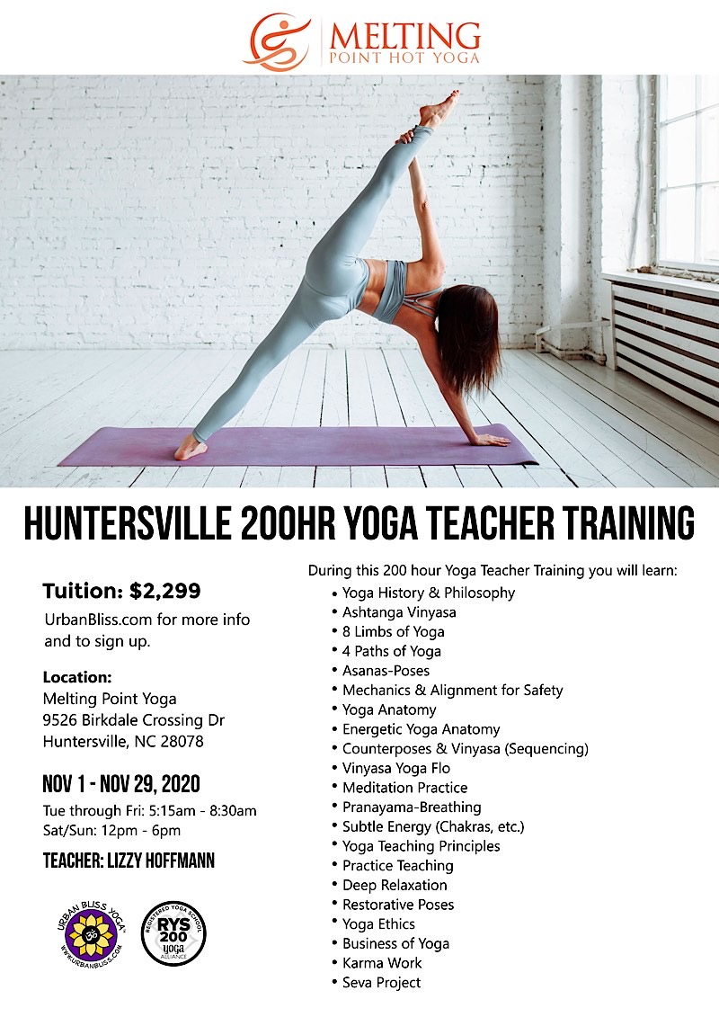 Huntersville Yoga Teacher Training, NC